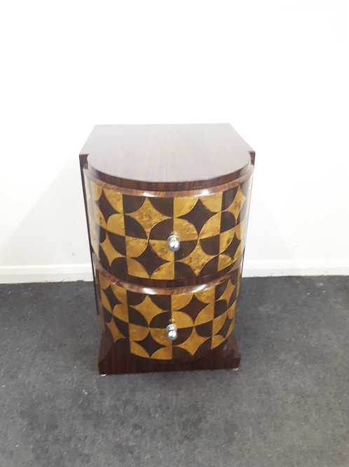 ART DECO STYLE BEDSIDE CABINET-ROSEWOOD AND WALNUT DIAMOND DESIGN - 546