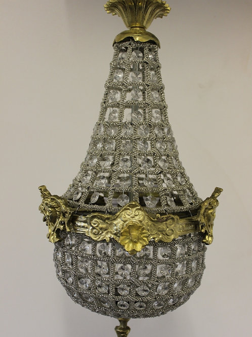 GLASS AND BRASS CHANDELIER - ANTIQUE FRENCH STYLE - C258