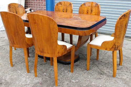 ANTIQUE ART DECO STYLE TABLE WITH 6 MATCHING CHAIRS IN WALNUT - DINING ROOM C400
