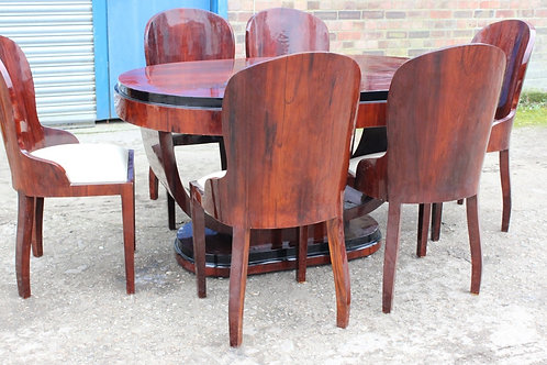 ANTIQUE ART DECO STYLE TABLE WITH 6 MATCHING CHAIRS IN ROSEWOOD DINING ROOM C403