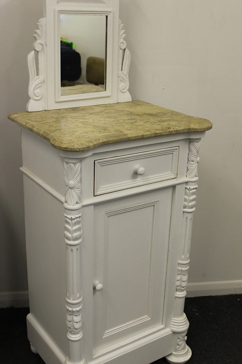 WHITE SICILIAN STYLE BEDSIDE CABINET - MIRRORED - FURNITURE - C243