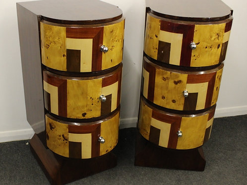 PAIR OF ANTIQUE ART DECO STYLE BEDISDE CABINET - 3 DRAWERS - HOME FURNITURE C425