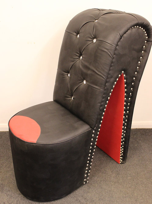 BLACK & RED FUNKY STILETTO HIGH HEEL SHOE CHAIR HOME FURNITURE FAUX LEATHER C418