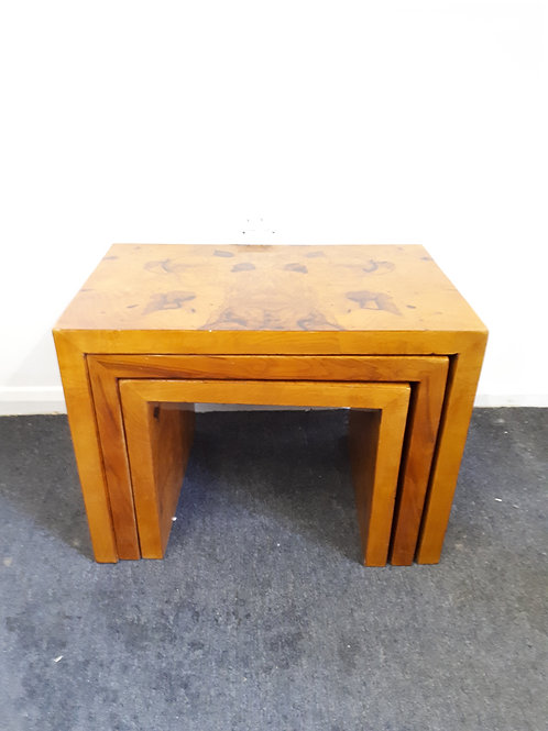 ART DECO STYLE WALNUT NEST OF INLAID TABLES - 532