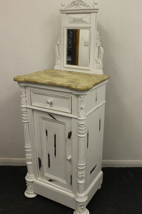 SICILIAN SHABBY STYLE BEDSIDE CABINET - MIRRORED - FURNITURE - C242