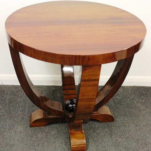 ART DECO STYLE FURNITURE   OCCASIONAL ROUND TABLE   IN WALNUT   C222