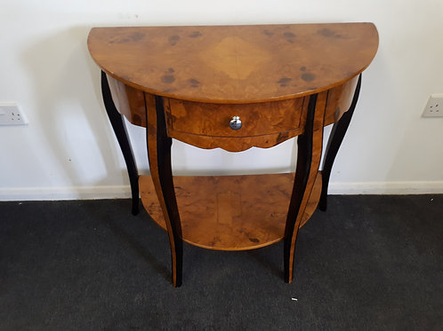WALNUT HALF CIRCLE OCCASIONAL TABLE WITH DRAWER AND BLACK LEGS - 565