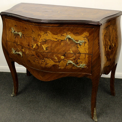 ANTIQUE FRENCH STYLE INLAID CHEST OF DRAWERS IN WALNUT C237