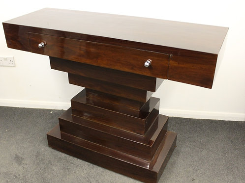 ANTIQUE ART DECO STYLE CONSOLE HALL TABLE IN ROSEWOOD WITH DRAWER - HOME - C424