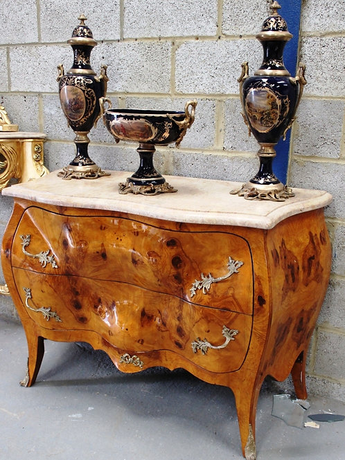ANTIQUE FRENCH STYLE CHEST OF DRAWERS IN WALNUT WITH MARBLE - 2 DRAWERS - C53