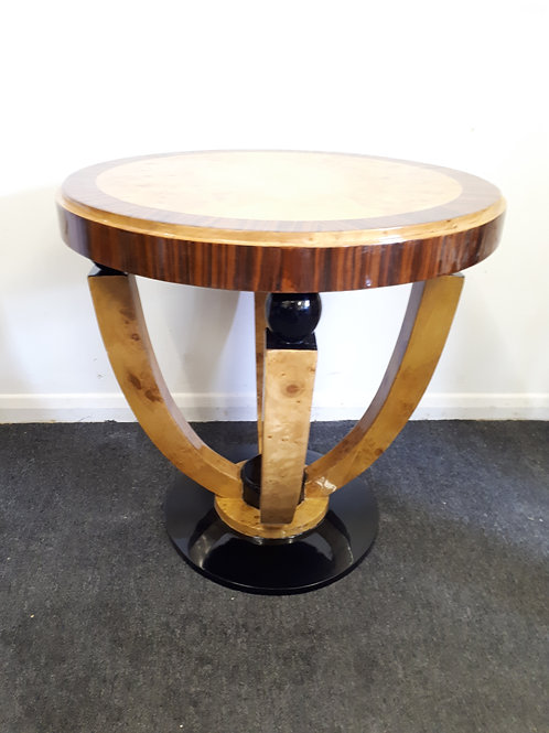 ROUND ART DECO STYLE OCCASIONAL TABLE IN ROSEWOOD AND WALNUT - 506