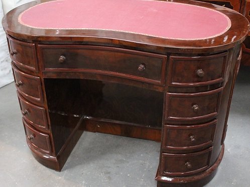 DARK ANTIQUE STYLE FRENCH KIDNEY DESK WRITING TABLE - LEATHER TOP - WALNUT C207