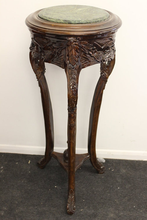 ANTIQUE FRENCH STYLE FURNITURE - PLANT STAND WITH MARBLE TOP - MAHOGANY - C55