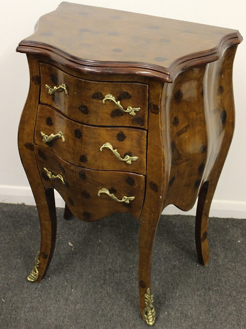 ANTIQUE FRENCH STYLE INLAID BOMBE BEDSIDE CABINET WITH 3 DRAWERS - C256
