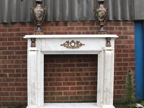 ITALIAN WHITE MARBLE FIREPLACE | C458 - HOME FURNISHING - HOUSE