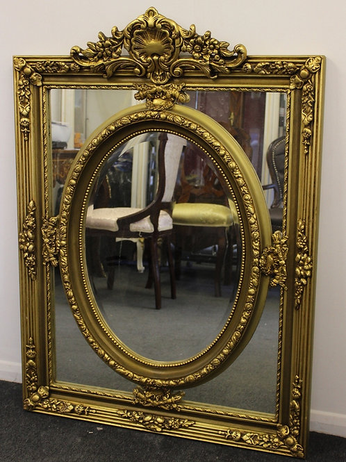 ANTIQUE VINTAGE STYLE LARGE LOUIS CARVED GOLD FRENCH MIRROR - BEVELED - C371