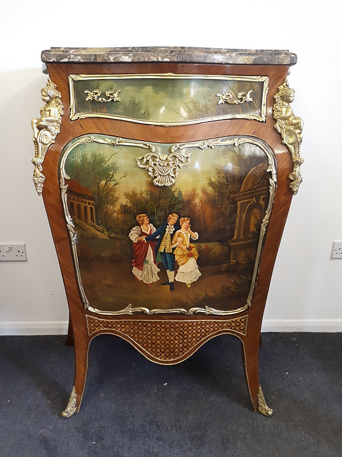 FRENCH STYLE SIDEBOARD/CABINET WITH PAINTED IMAGE WITH BRASS DECORATION - 536