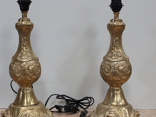 PAIR OF ANTIQUE FRENCH STYLE BRASS LAMPS - C86