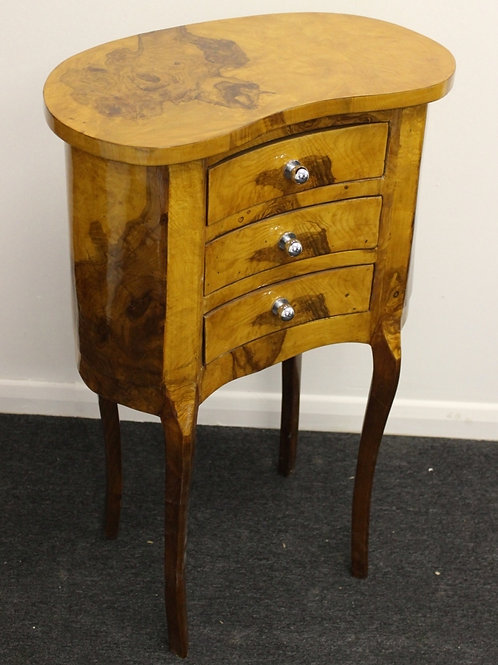 ANTIQUE FRENCH STYLE BEDSIDE TABLE - CABINET - IN WALNUT - 3 DRAWERS C23