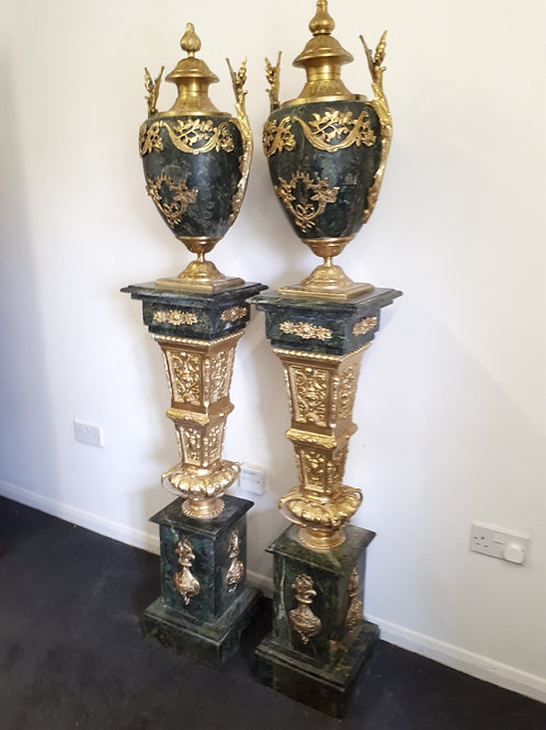 ITALIAN MARBLE COLUMNS WITH URNS - 501