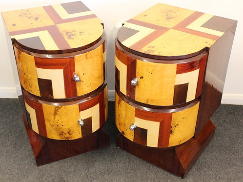 PAIR OF ANTIQUE ART DECO STYLE BEDISDE CABINET - 2 DRAWERS - IN WALNUT - C381