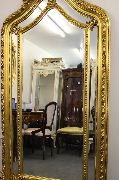 ANTIQUE VINTAGE STYLE LARGE LOUIS CARVED GOLD FRENCH MIRROR - BEVELED - C378
