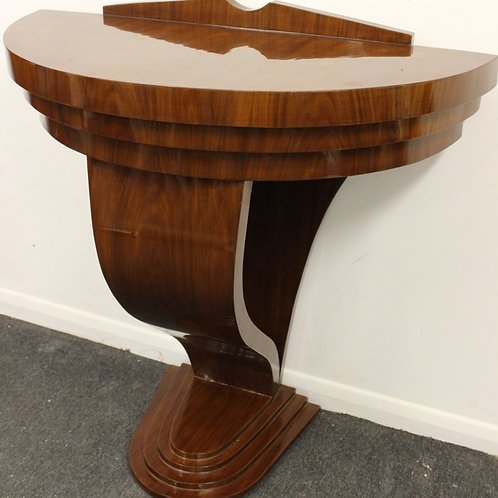 ANTIQUE ART DECO STYLE HALF MOON CONSOLE HALL TABLE IN ROSEWOOD - C246
