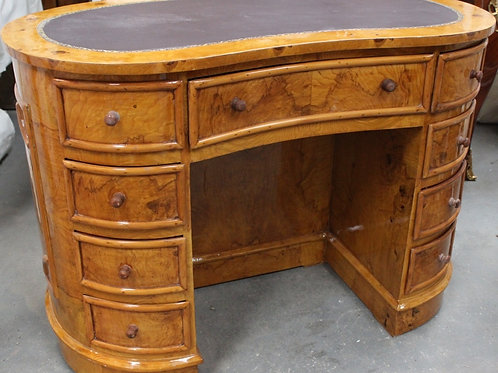 ANTIQUE STYLE FRENCH KIDNEY DESK WRITING TABLE - LEATHER TOP - WALNUT - C206