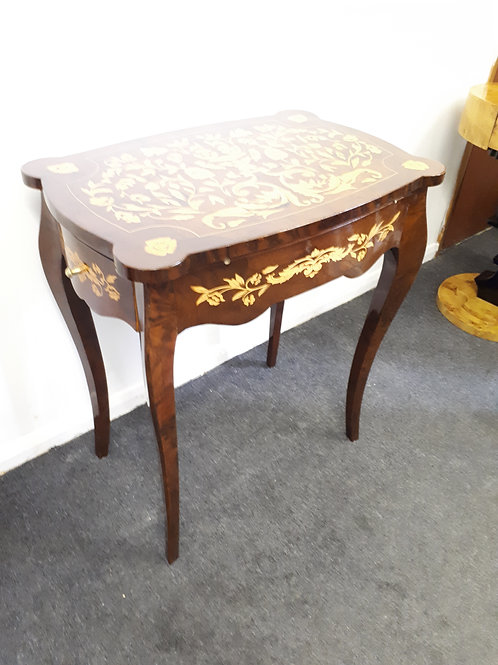 ANTIQUE FRENCH STYLE INLAID WALNUT OCCASIONAL TABLE WITH DRAWERS - 512