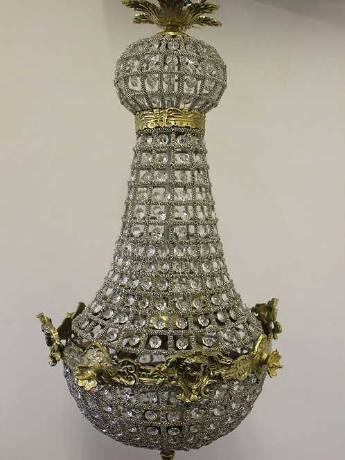 GLASS AND BRASS CHANDELIER - ANTIQUE FRENCH STYLE - 624
