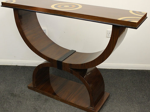 ANTIQUE ART DECO STYLE - CONSOLE HALL TABLE IN ROSEWOOD - VENEERED DESIGN C439