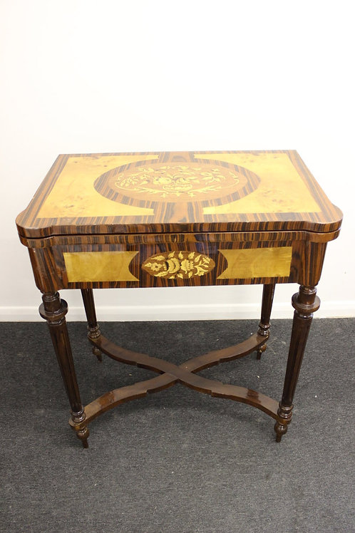 ANTIQUE FRENCH STYLE - CARD INLAID TABLE IN WALNUT - FAUX LEATHER TOP - C26