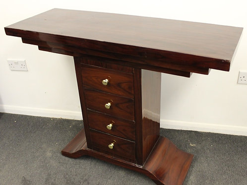 ANTIQUE ART DECO STYLE CONSOLE HALL TABLE IN ROSEWOOD WITH 2 DRAWERS C435