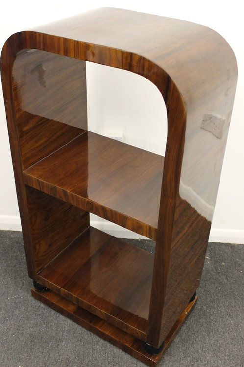 DARK ANTIQUE ART DECO STYLE SMALL BOOKCASE IN ROSEWOOD - LIBRARY SHELF - C244