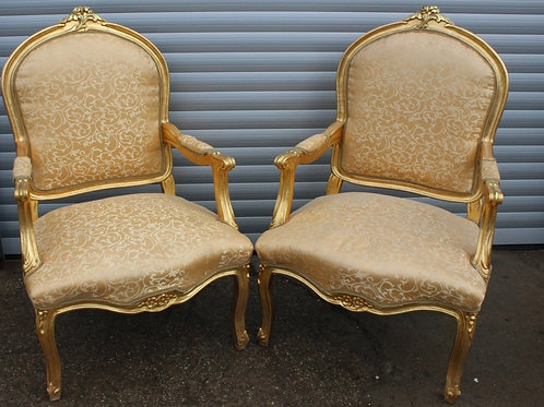 FRENCH STYLE FURNITURE - PAIR OF LOUIS CHAIRS - MAHOGANY GOLD LEAF - C452