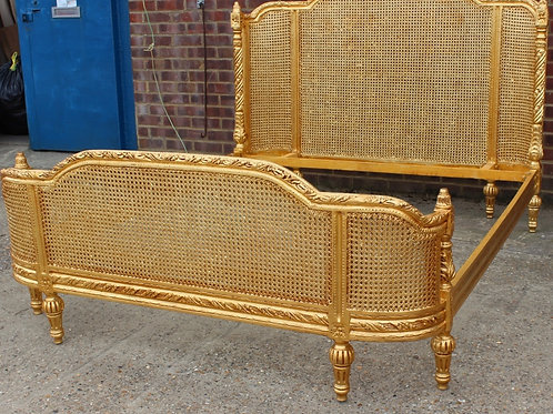 ANTIQUE FRENCH STYLE BED | FRAME | GOLD COLOUR | HANDMADE | KING SIZE BED - C306