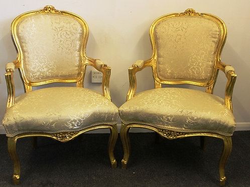 FRENCH STYLE FURNITURE - PAIR OF LOUIS CHAIRS - MAHOGANY GOLD LEAF - C318