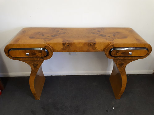 WALNUT CONSOLE TABLE WITH BLACK RIMMED DRAWERS - 558
