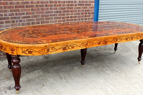 ANTIQUE STYLE DINING TABLE MARQUETRY WINDOUT INLAID EXTENDABLE - FURNITURE C51