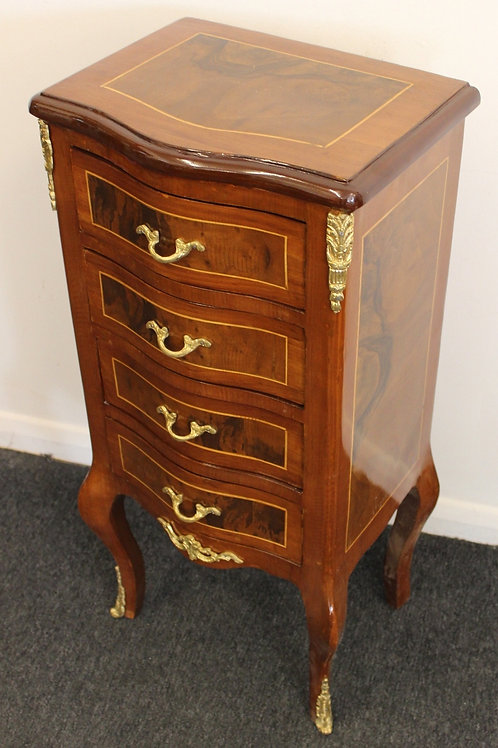 ANTIQUE FRENCH STYLE FURNITURE - BEDSIDE CABINET WITH 4 DRAWERS - C379