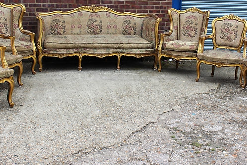 ANTIQUE FRENCH SOFA WITH ARMCHAIRS - LIVING ROOM - 7 PIECE SALON SET C336