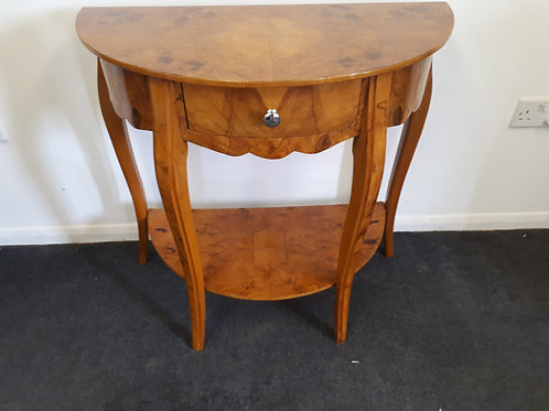 WALNUT HALF CIRCLE OCCASIONAL TABLE WITH DRAWER - 564