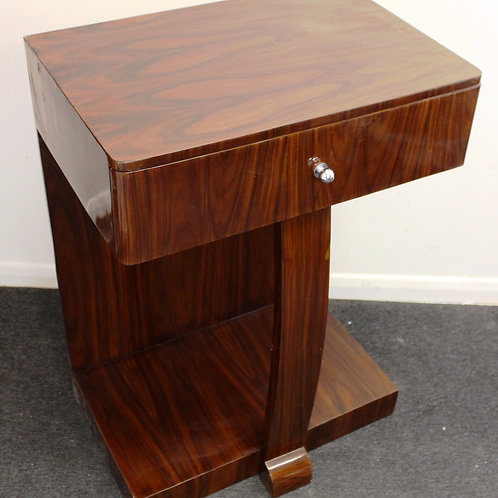 ART DECO STYLE CONSOLE TABLE IN WALNUT WITH DRAWER - C18