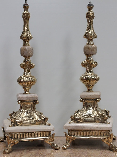 copia di PAIR OF ANTIQUE FRENCH STYLE BRASS LAMPS - C88