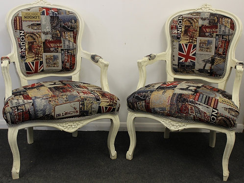 FRENCH STYLE FURNITURE - PAIR OF LOUIS ARMCHAIRS - LONDON DESIGN | C323