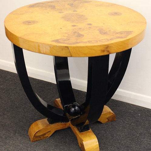 ART DECO STYLE FURNITURE - OCCASIONAL ROUND TABLE - IN WALNUT - C3