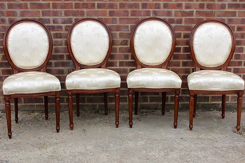ANTIQUE FRENCH STYLE FURNITURE - 4 CHAIRS - MAHOGANY WOOD - OFF WHITE | C325