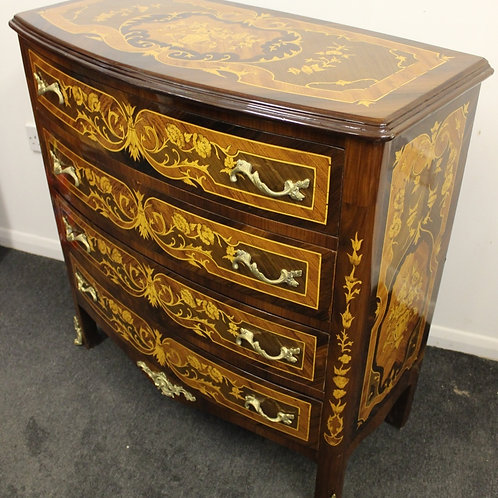 ANTIQUE FRENCH STYLE COMMODE INLAID CHEST OF DRAWERS WITH 4 DRAWERS- C433