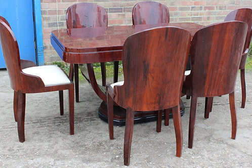 ANTIQUE ART DECO STYLE TABLE WITH 6 MATCHING CHAIRS IN ROSEWOOD DINING ROOM C401