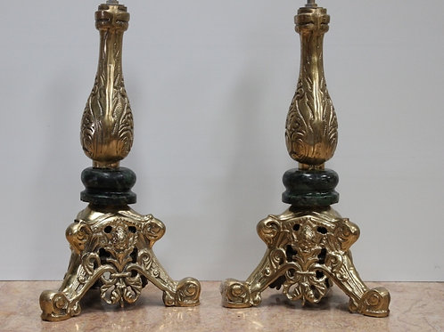 PAIR OF ANTIQUE FRENCH STYLE BRASS LAMPS - C89